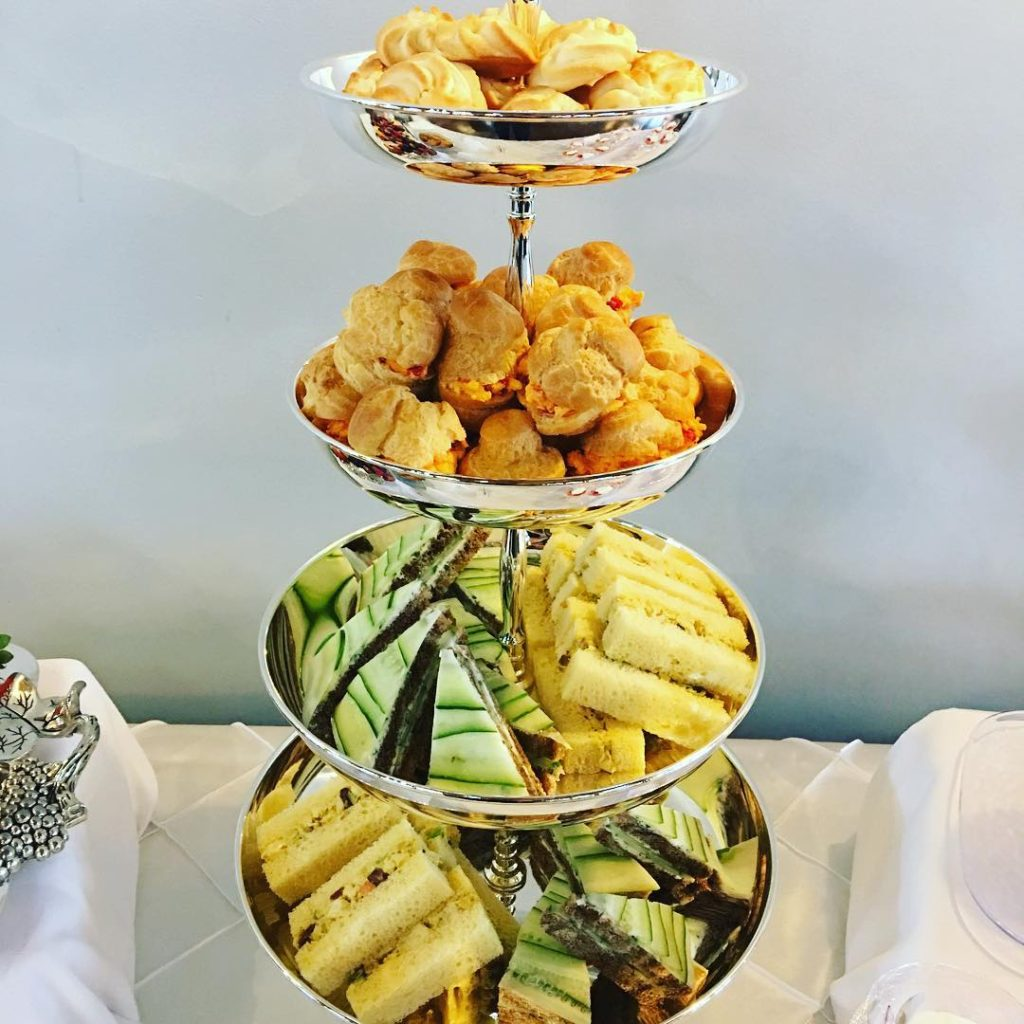 Petite tea sandwiches for a bridal room custom wedding catering package.