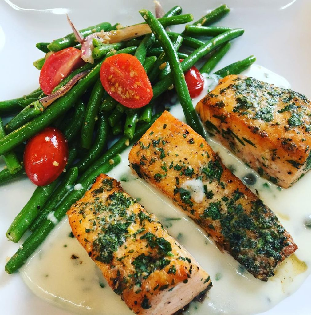 Salmon and green beans made for a custom wedding catering menu.